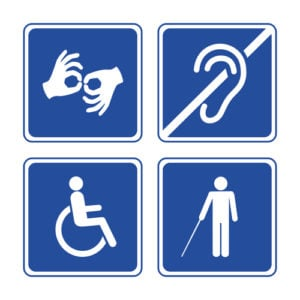 Graphic of four symbols: sign language, deafness, handicapped, blindness