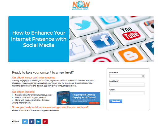 screen shot of a landing page in an inbound marketing workflow.