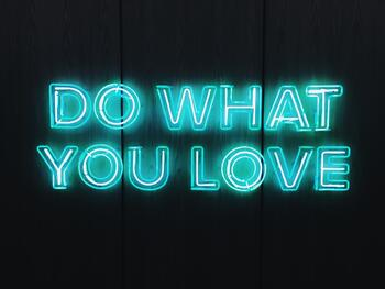Neon sign that says do what you love
