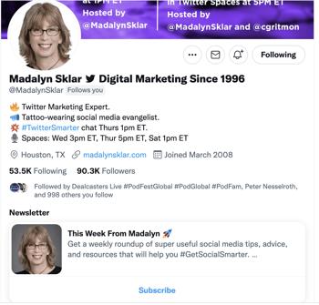Newsletter on Twitter Profile