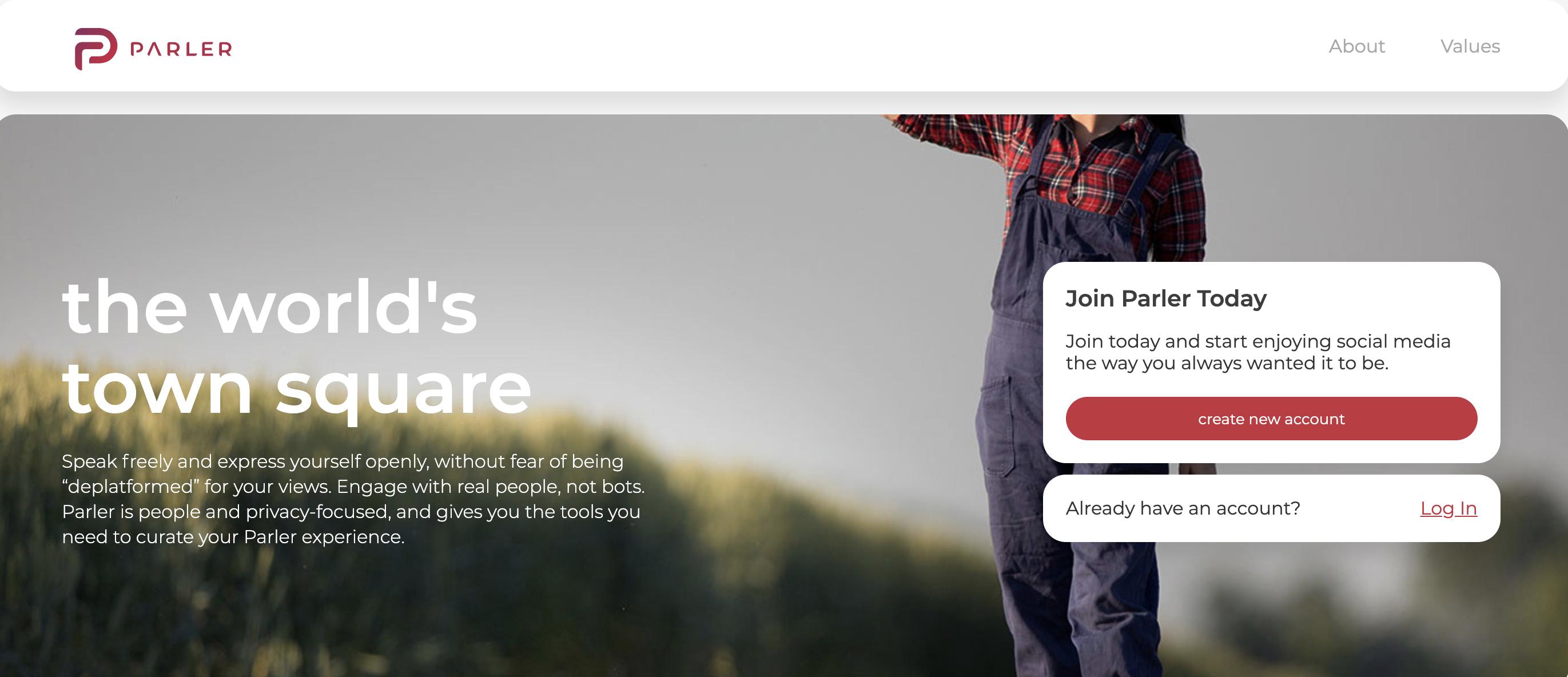 Parler Homepage
