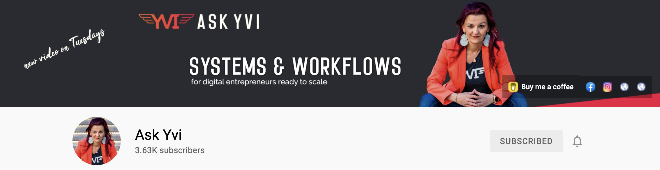Ask Yvi systems and workflows YouTube header image - sign-up